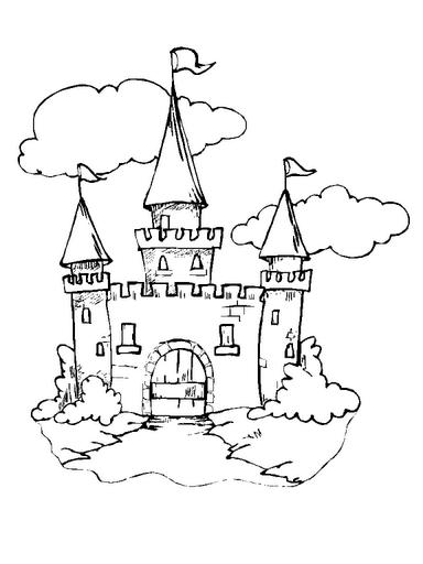 castelo e nuvens desenhos para colorir