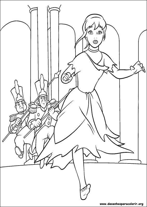 Cinderela Correndo Do Castelo Desenhos Para Colorir