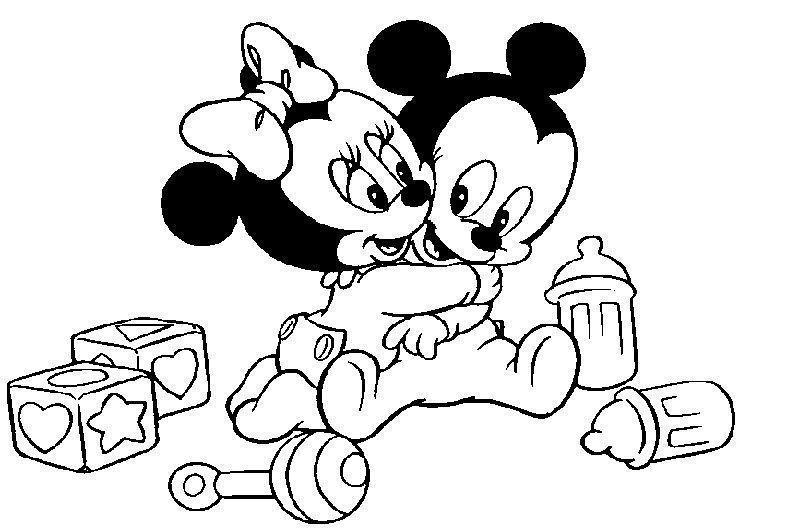 mickey e minie bebês abraçados desenhos para colorir
