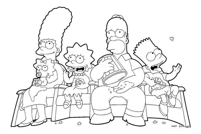 Simpsons no sof desenhos para colorir - Dessin simpson ...