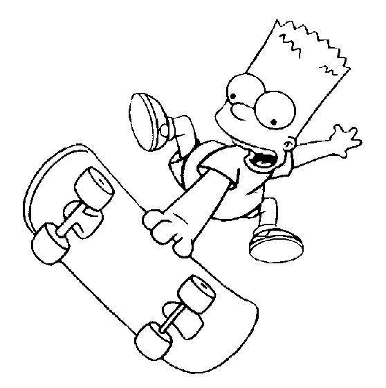 Simpson Manobra Skate Desenhos Para Colorir