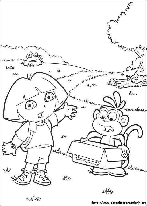 Dora E Botas Assustados Desenhos Para Colorir