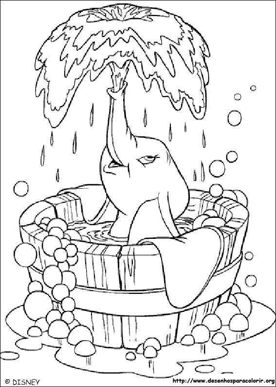 Dumbo Espichando Agua Desenhos Para Colorir