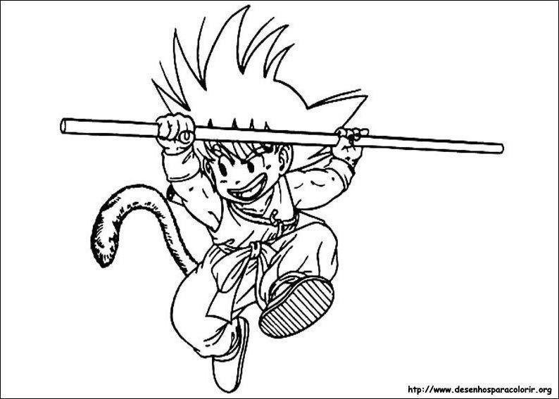 Goku Pequeno E Bastao Desenhos Para Colorir
