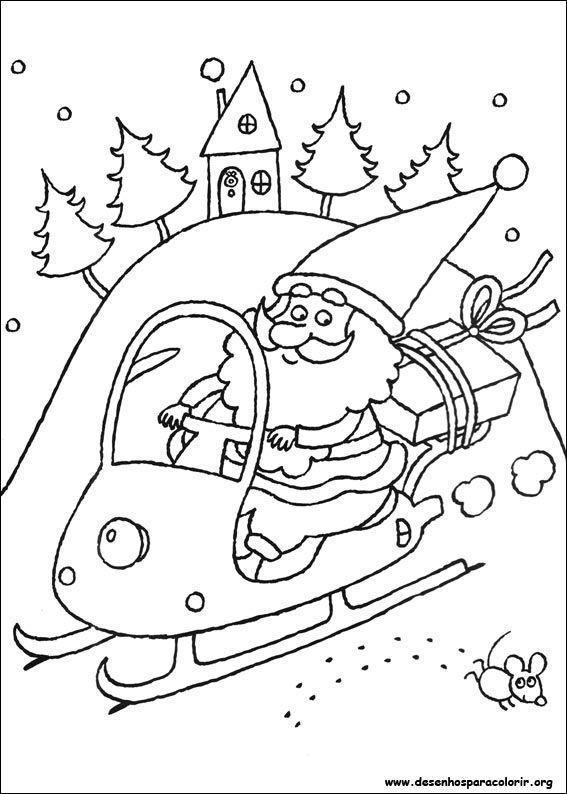 Papai Noel Aterrizando No Trenó Desenhos Para Colorir