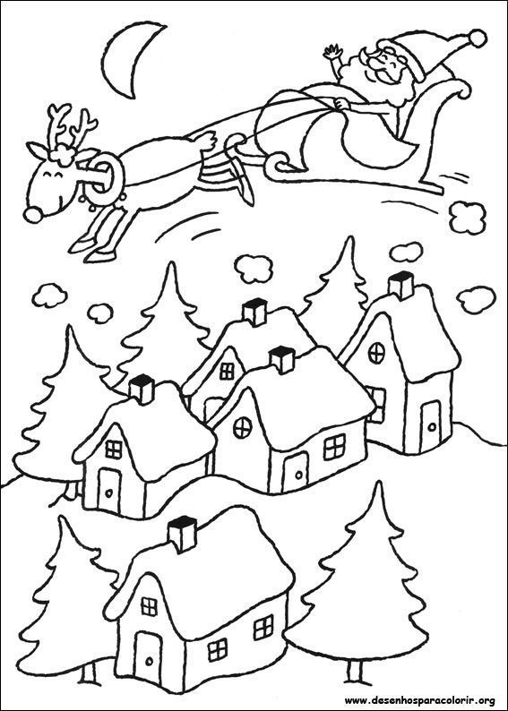 Papai Noel Voando Com Trenó Desenhos Para Colorir