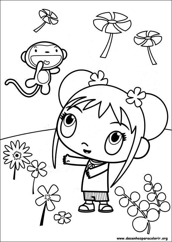 Kai Lan E Macaquinho Desenhos Para Colorir