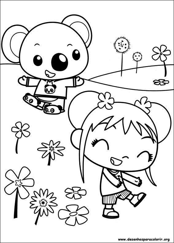 Kai lan sorrindo com ursinho desenhos para colorir for Kai lan coloring pages