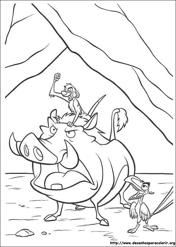 timão e pumba zangados o rei leão desenhos para colorir