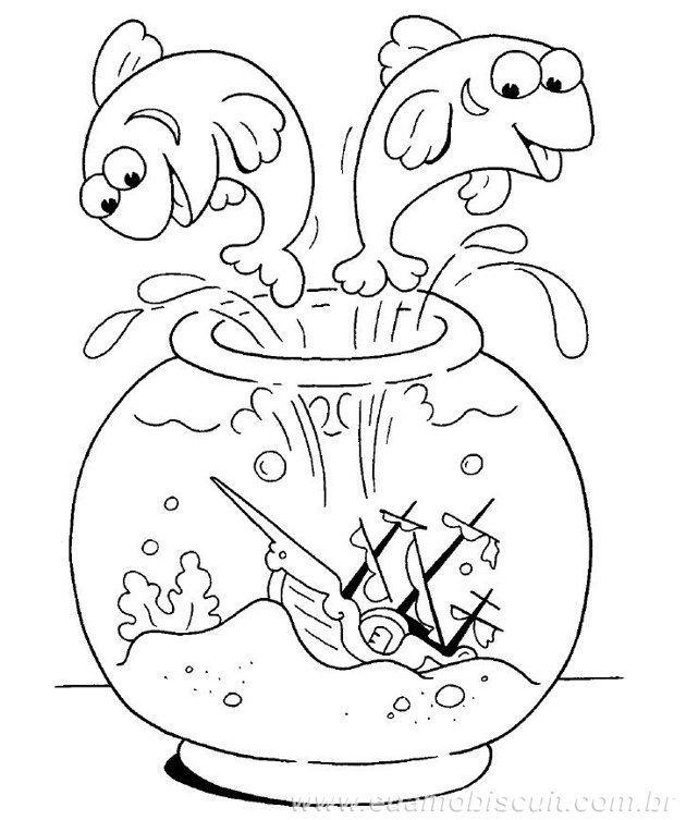 Peixe Pulando Do Aquario Desenhos Para Colorir
