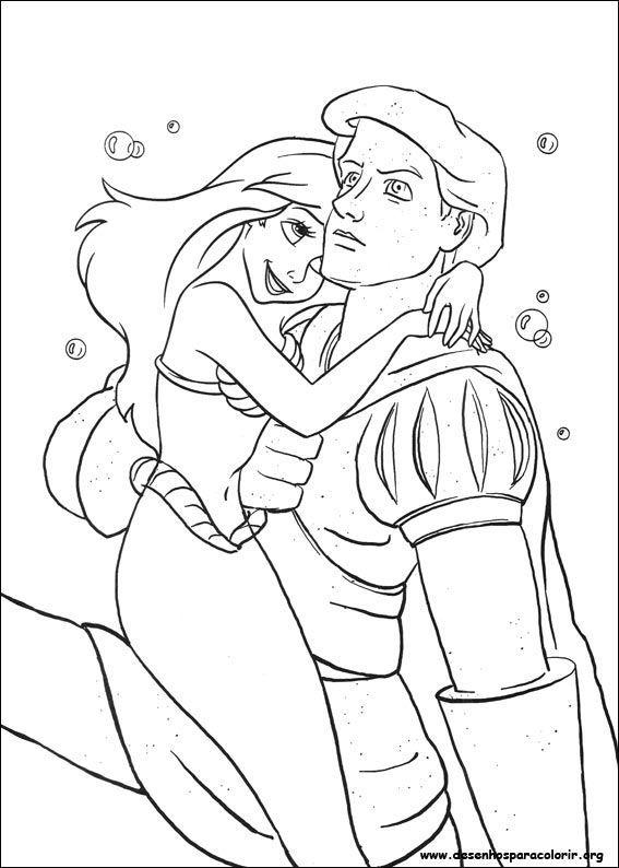 pequena sereia e principe desenhos para colorir