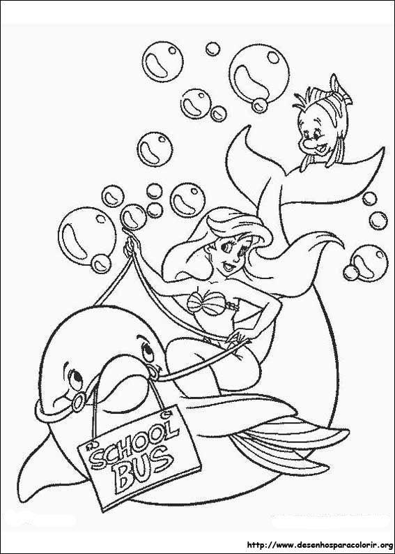 Ariel Com Golfinho Desenhos Para Colorir