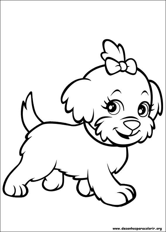cachorrinho lindo da polly pocket desenhos para colorir