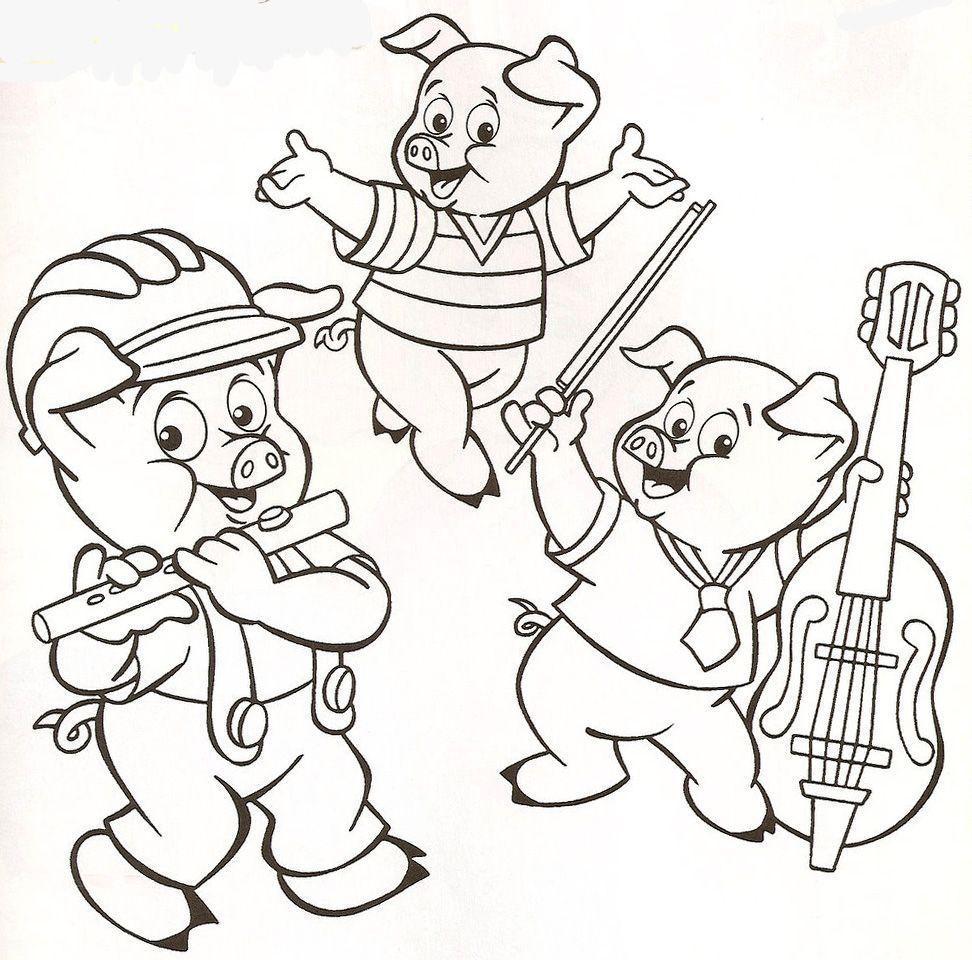 3 Porquinhos Tocando Desenhos Para Colorir