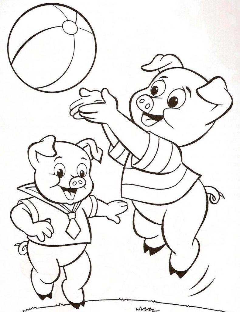 3 Porquinhos Jogando Desenhos Para Colorir