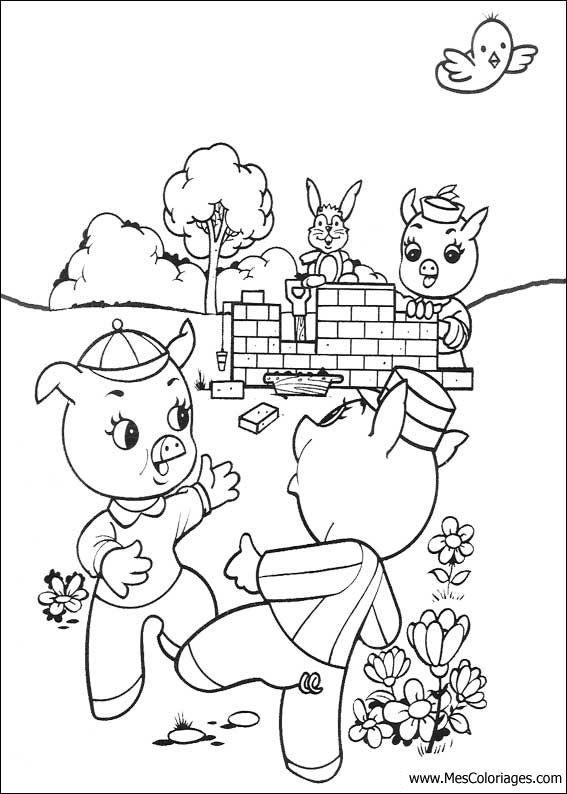 3 Porquinhos Construindo Desenhos Para Colorir