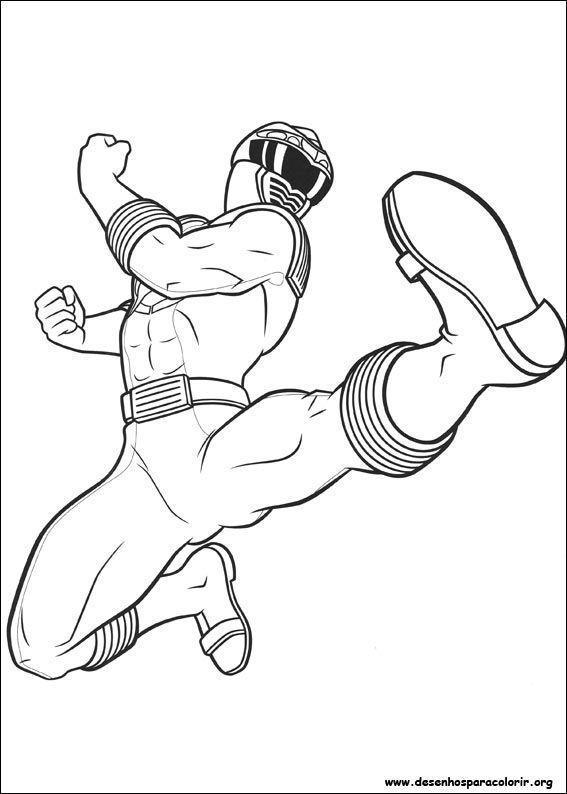 power rangers dando chute desenhos para colorir