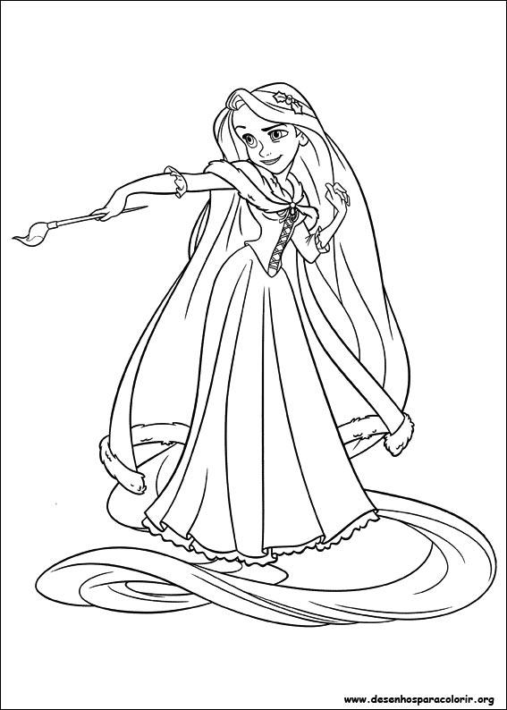 Rapunzel Com Pincel Desenhos Para Colorir