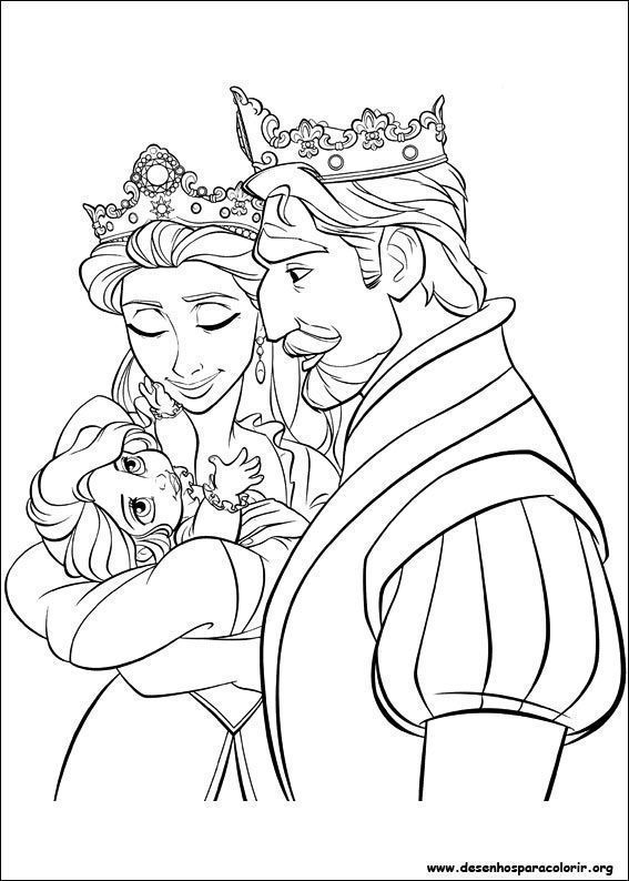 Pai E Mae De Rapunzel Desenhos Para Colorir