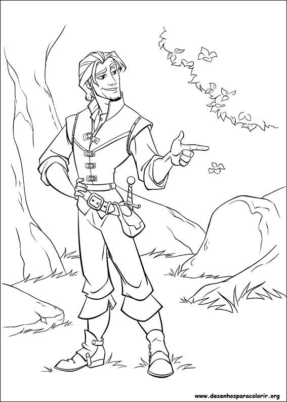 príncipe da rapunzel desenhos para colorir