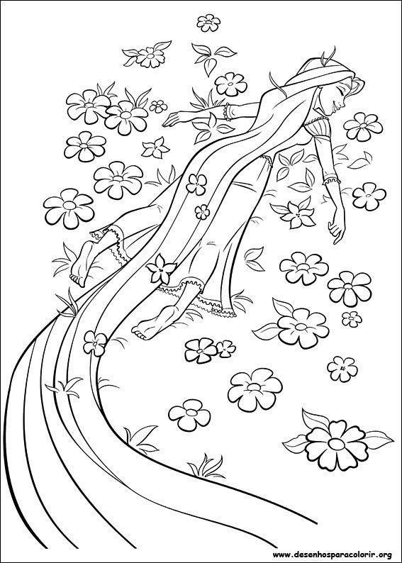 Rapunzel e as flores Desenhos para Colorir
