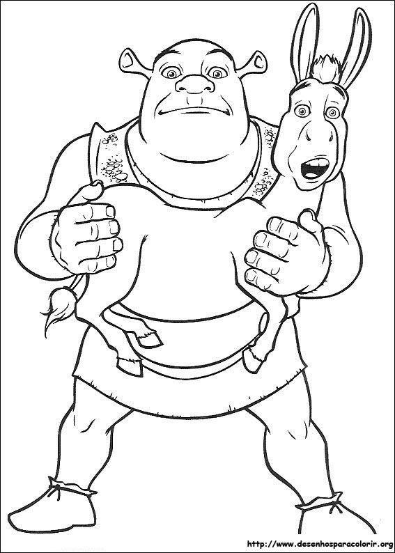 Shrek Com Burro Desenhos Para Colorir