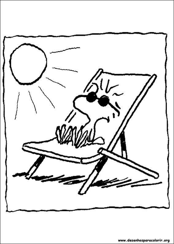 Snoopy Tomando Sol Desenhos Para Colorir