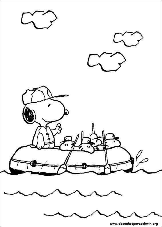 Snoopy De Barco Desenhos Para Colorir