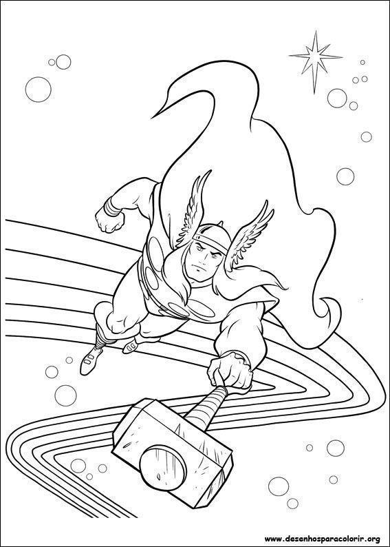 Thor Voando Com Martelo Desenhos Para Colorir
