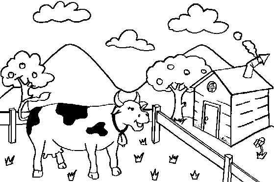 Vaca Na Fazenda Desenhos Para Colorir