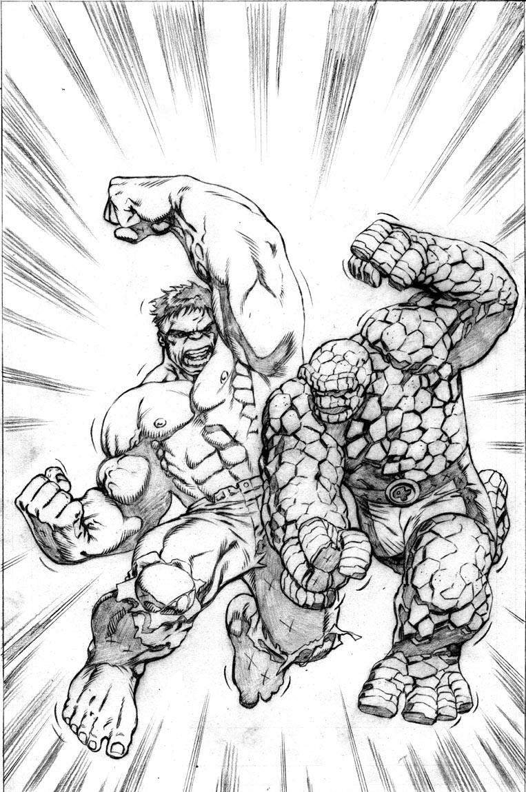 Homem De Pedra E Hulk Desenhos Para Colorir