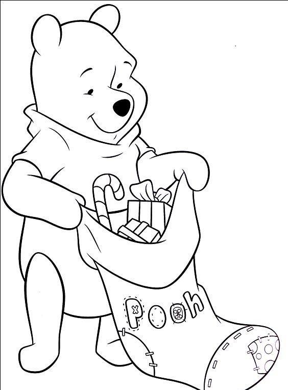 Ursinho Pooh Com Meia De Natal Desenhos Para Colorir